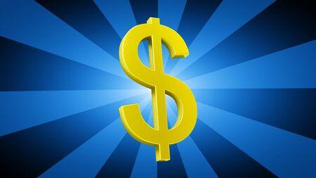 Dollar sign in blue background. 3D Illustration.