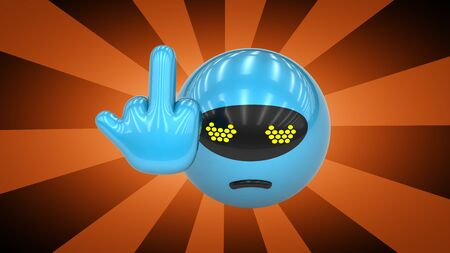 Blue toy with offensive gesture. 3D Illustration.