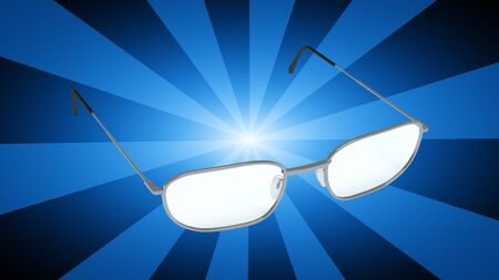 Glasses in blue background. 3D Illustration. Stock Photo
