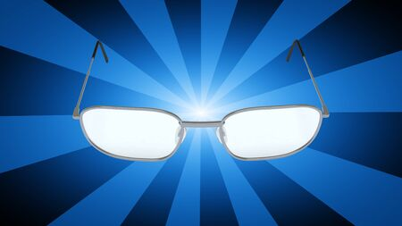Glasses in blue striped background. 3D Illustration. Stock Photo