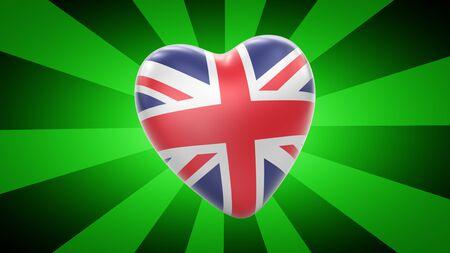 Flag of Britain in green striped background. 3D Illustration. 版權商用圖片
