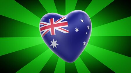 Flag of Australia in green striped background. 3D Illustration.