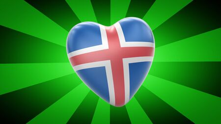 Flag of Iceland in green striped background. 3D Illustration. 版權商用圖片