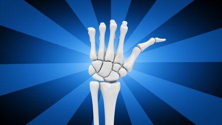 Skeletal hand in blue striped background. 3D Illustration. Imagens