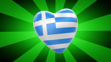 Flag of Greece in green striped background. 3D Illustration. 版權商用圖片