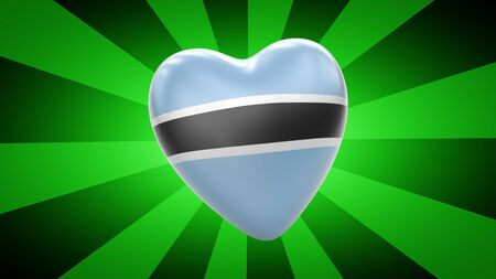 Flag of Botswana in green striped background. 3D Illustration.