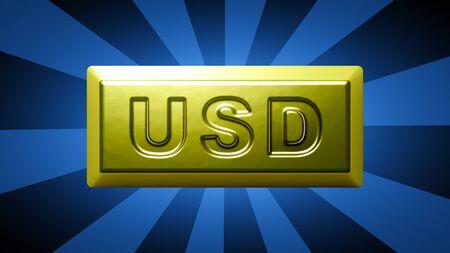 Dollar sign on the gold bullion.