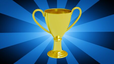 Trophy in blue striped background. 3D Illustration. Stockfoto