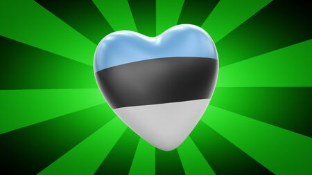 Flag of Estonia in green striped background. 3D Illustration.