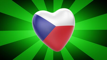 Flag of Czech Republic in green striped background. 3D Illustration.