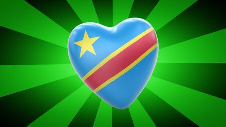Flag of Democratic Republic of the Congo in green background. 3D Illustration.
