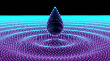 The grid of a drop and rippled surface. 3D Illustration. Фото со стока
