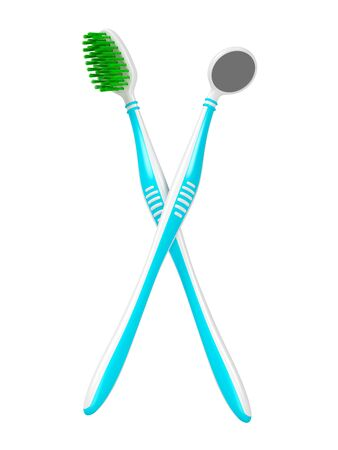 No trademarks. My own design of the toothbrush and the dental mirror. 3D Illustration. Stockfoto - 134971027