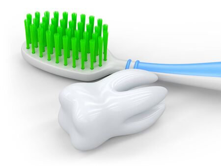 No trademarks. My own design of toothbrush. 3D Illustration. Stockfoto - 134971756