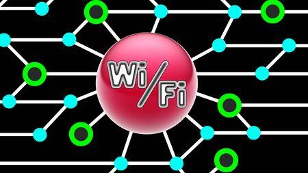 WiFi icon on circuit board. Illustration.