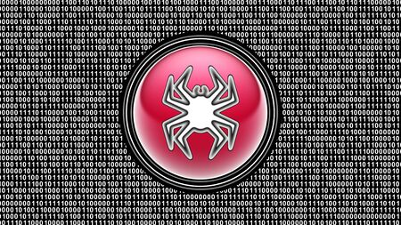 Virus icon. Binary code ( array of bits ) in the screen. Illustration.