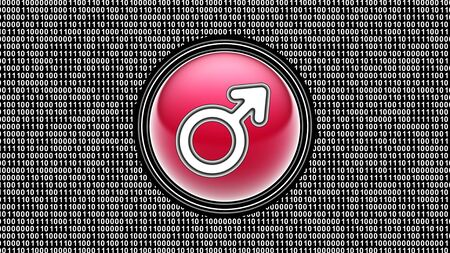 Male icon. Binary code ( array of bits ) in the screen. Illustration.