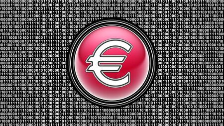 Euro icon. Binary code ( array of bits ) in the screen. Illustration. Stock fotó