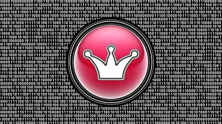 Crown icon. Binary code ( array of bits ) in the screen. Illustration.