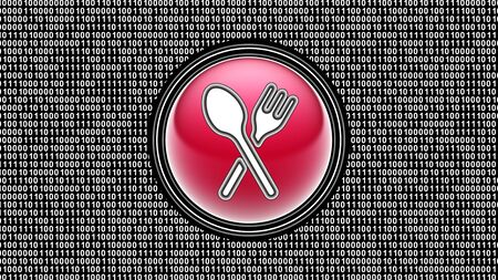 Dinner icon. Binary code ( array of bits ) in the screen. Illustration.