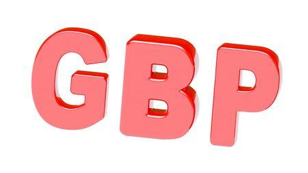 British pound sign in white background. 3D Illustration. Stock Photo