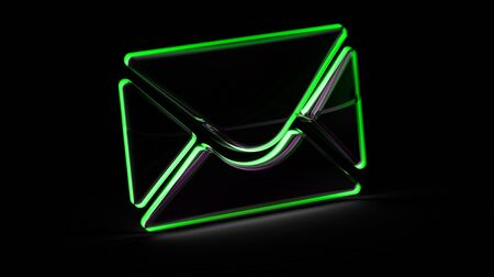 E-mail icon in black background. 3D Illustration. Stock Photo