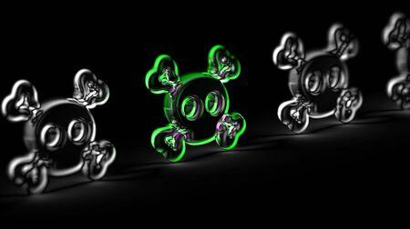 Virus icon in black background. 3D Illustration. 版權商用圖片