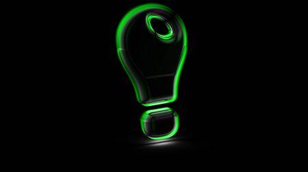 Idea icon in black background. 3D Illustration.