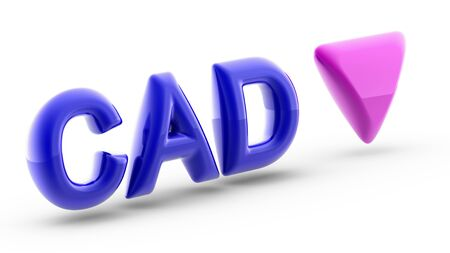 Canadian dollar sign in white background. Index down. 3D Illustration.