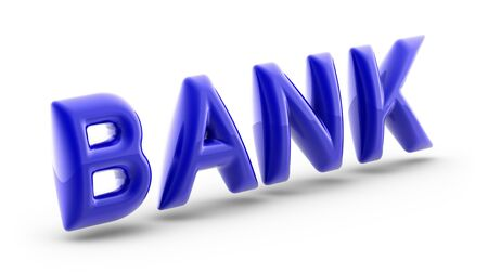Bank in white background. 3D Illustration.