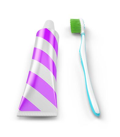 Paste tube and toothbrush. No trademarks. 3D Illustration.