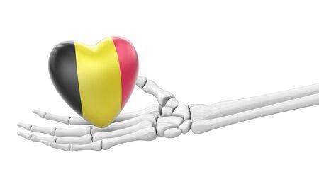 Flag of Belgium on the heart. 3D Illustration. 免版税图像