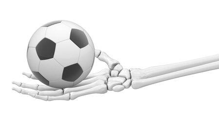 Soccerball in skeletal hand. 3D Illustration. Фото со стока