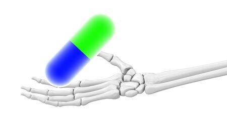 Pill in skeletal hand. 3D Фото со стока