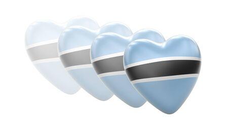 Flag of Botswana in white background. 3D Illustration. Imagens