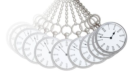 Pocket watch in white background. 3D Illustration. 免版税图像