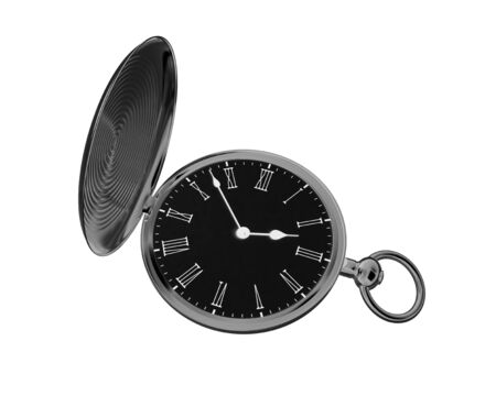 Pocket watch in white background. 3D Illustration. Archivio Fotografico
