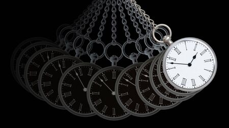 Pocket watch in black background. 3D Illustration.