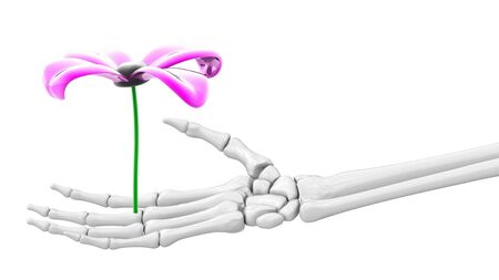 Flower in skeletal hand. 3D Illustration.