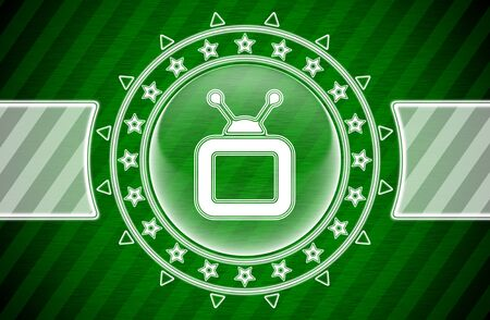 TV icon in circle shape and green striped background. Illustration.