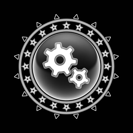 Gear icon in circle frame and black background. Illustration. Imagens