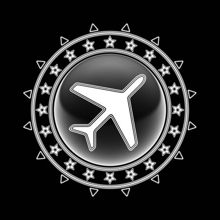 Flight icon in circle frame and black background. Illustration.