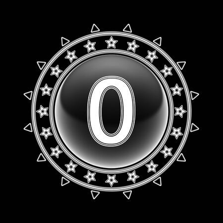 Zero in circle frame and black background. Illustration.