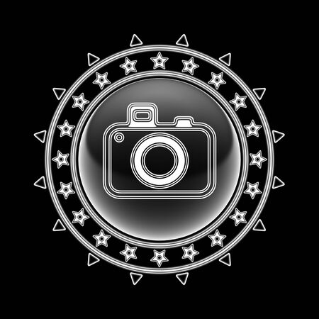 Camera icon in circle frame and black background. Illustration. Imagens