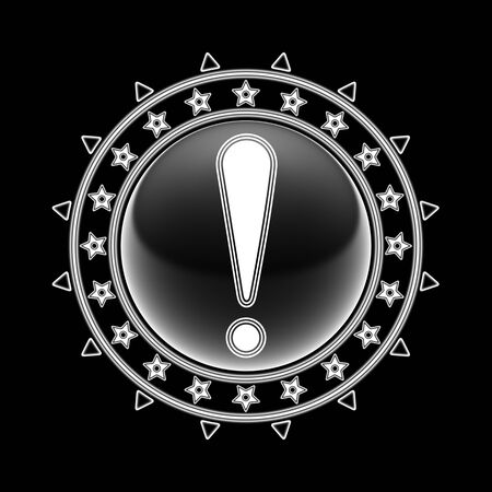 Attention icon in circle frame and black background. Illustration.