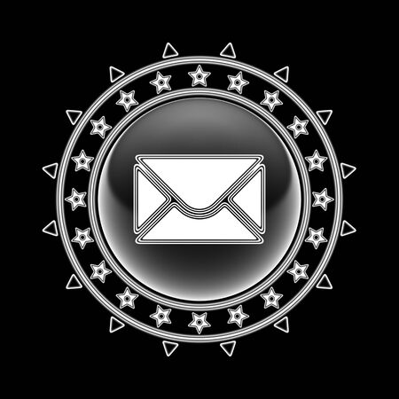 E-mail icon in circle frame and black background. Illustration.