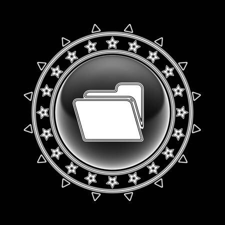 File icon in circle frame and black background. Illustration.