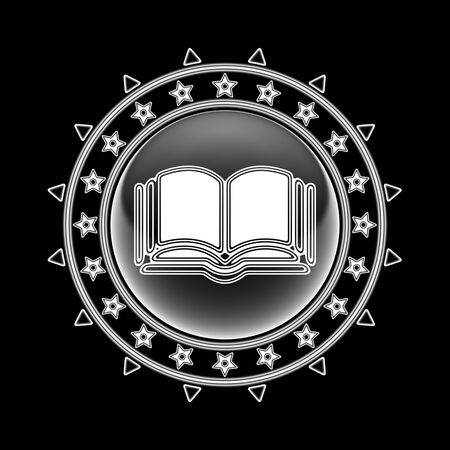 Book icon in circle frame and black background. Illustration.