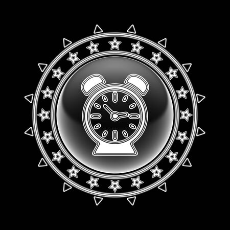 Clock icon in circle frame and black background. Illustration.