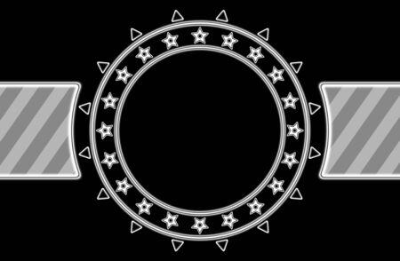 Circle frame in black background. Illustration.